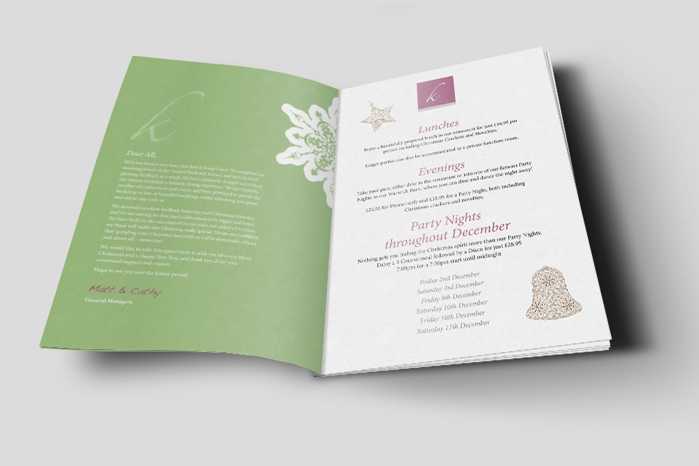 Hotel menu print and design